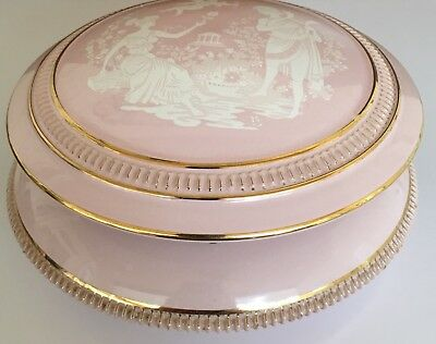 Lg Vintage Powder Box. Hinged Lid. Gold Leaf. Couple w Cherub. Marked & Numbered