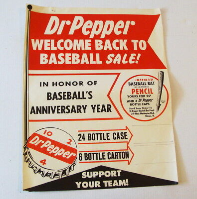 Original 1940's Dr Pepper Welcome Back Baseball 10 2 4  Support Your Team Poster