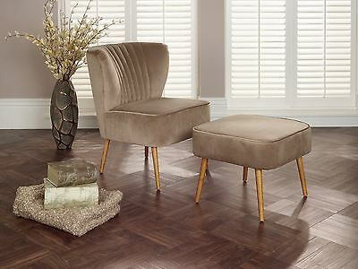 Loch Velvet Accent Chair Occasional Armchair FREE Footstool Various Colours