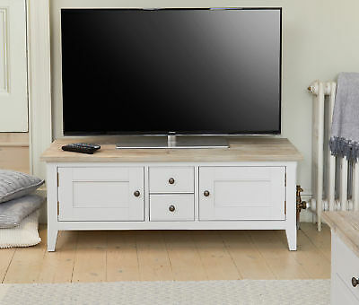 Signature Solid Wood TV Cabinet Unit For 65 TV Grey and Limed Oak