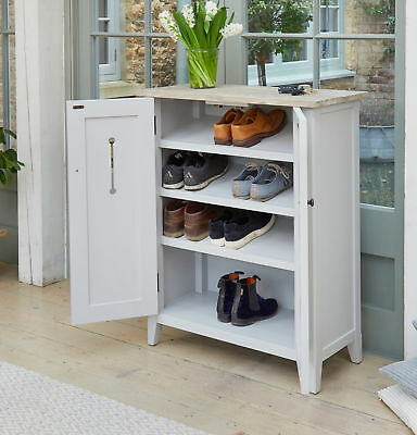 Signature Solid Wood Shoe Cabinet Unit Storage Grey and Limed Oak