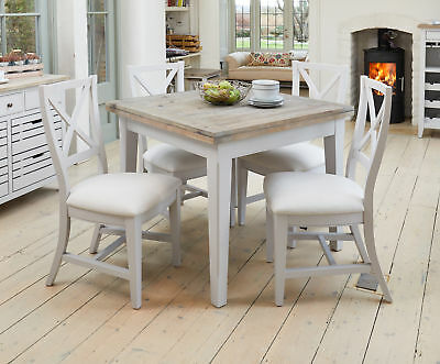 Signature Solid Wood Extending Dining Table 6 Seater Grey and Limed Oak