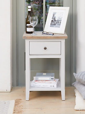 Signature Solid Wood Side Table 1 Drawer Lamp End Grey and Limed Oak