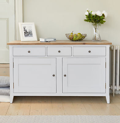 Signature Solid Wood 2 Door 3 Drawer Large Sideboard Storage Grey Limed Oak Top