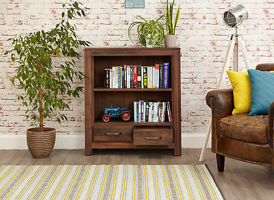 Mayan Dark Wood 2 Shelf Bookcase 2 Drawers Low Display Solid Walnut