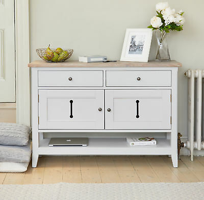 Signature Solid Wood 2 Door 2 Drawer Medium Sideboard Storage Grey Limed Oak Top