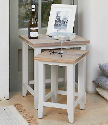 Signature Solid Wood Nest of 2 Tables Grey and Limed Oak