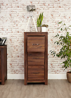 Mayan Dark Wood Filing Cabinet 3 Drawers Storage Solid Walnut