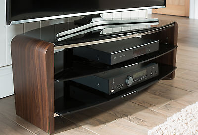 Alphason Francium TV Stand in Walnut Veneer and Black Glass 1100mm