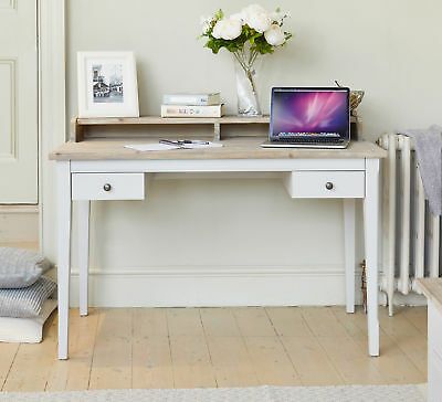 Signature Solid Wood Dressing Table / Desk  2 Drawers Grey and Limed Oak