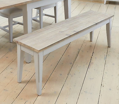 Signature Solid Wood Dining Bench Large Grey Limed Oak Top
