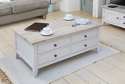 Signature Solid Wood Lift Up Coffee Table 4 Drawers Grey and Limed Oak