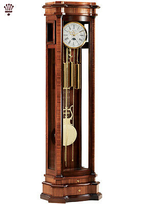 BilliB Elise Grandfather Clock Mechanical Moondial Chime Silencer Zebrano Walnut