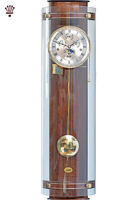 BilliB Knightsbridge Wall Clock Calendar Mechanical Chime Moondial Curved Glass
