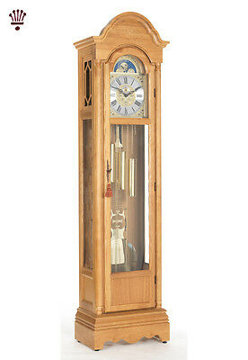 BilliB Cavendish Grandfather Clock Mechanical Moondial Chime Silencing Light Oak