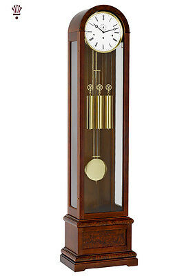 BilliB Vanguard Grandfather Clock Chime Curved Glass Seconds Burl Walnut