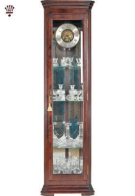 BilliB Amber Grandfather Clock Corner Glass Storage Chime Silencing Mahogany