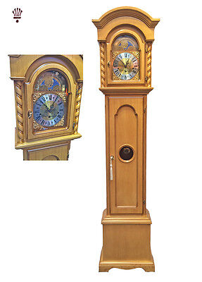 BilliB Corinthian Grandmother Clock Mechanical Moondial Chime Light Oak Classic