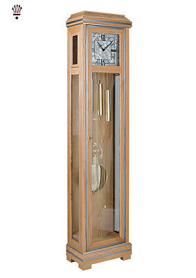 BilliB Messina Grandfather Clock Mechanical Chime Crystal Glass Ash Modern