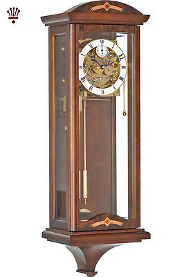 BilliB Redhill Wall Clock Mechanical Chime Skeleton Glass Walnut Classic