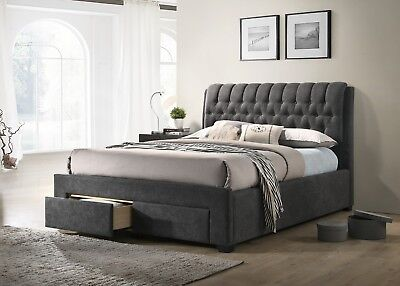 Armagh Fabric Chesterfield Storage Bed Frame With 2 Drawers Various Sizes