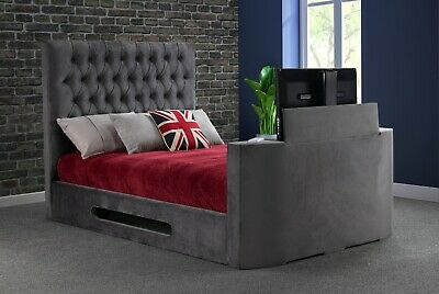 Leia Fabric TV Bed King Size Wingback For 32 TV Various Colours Plus Swatch