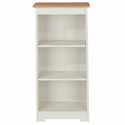 St Ives 3 Shelf Bookcase Solid Wood Low Narrow Display White Painted and Oak