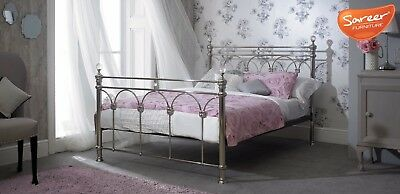 Oscar Metal Bed Frame King Size Chrome With Crystal Finials Victorian Style