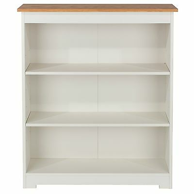 St Ives 3 Shelf Bookcase Solid Wood Low Wide Display White Painted and Oak
