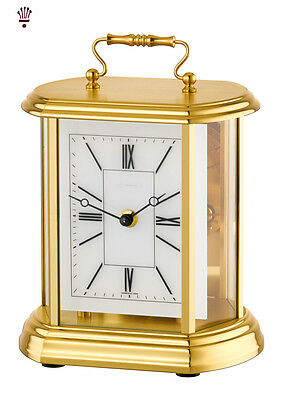 BilliB Clair Mantel Clock Mechanical Carriage Mineral Glass Bell Chime Brass