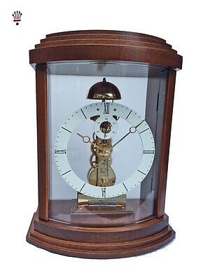BilliB Lindsey Mantel Clock Mechanical Bell Chime Curved Glass Seconds Walnut