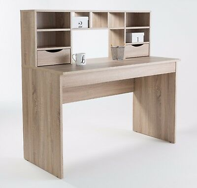 Albion Sonoma Oak Computer Office Desk Workstation With Drawers and Shelves