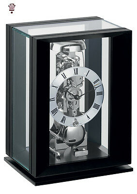 BilliB Callum Mantel Clock Mechanical Skeleton Bell Chime Glass Piano Black