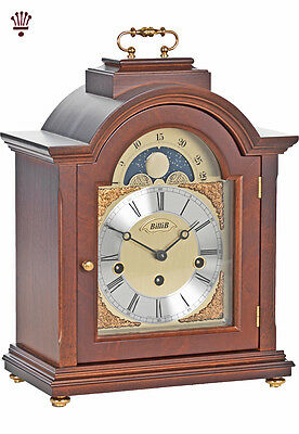 BilliB Linton Mantel Clock Mechanical Moondial Chime Curved Arched Walnut