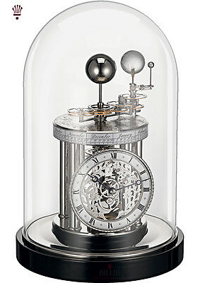 BilliB Celeste Mantel Clock Mechanical Celestial Skeleton Glass Dome Ebony