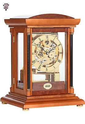 BilliB Bradley Mantel Clock Mechanical Triple Chime Silencing Yew Finish