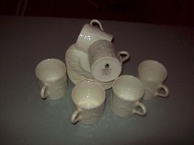 Wedgwood White Espresso Coffee Set of 6 cups and saucers in good condition