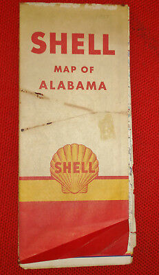 Vintage Shell Oil Road Map of Alabama - 1953!