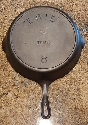 "Restored Antique ""ERIE"" 704 L #8 Cast Iron Skillet w/Heat Ring (Circa 1892-1905)"