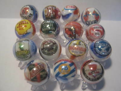 MARATHON ZEROLENE POLLY INDIAN ECT. Gasoline Glass Marbles lot +Stands 5/8 size