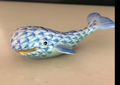 Herend Blue Fishnet Baby Whale Figurine Mint Condition