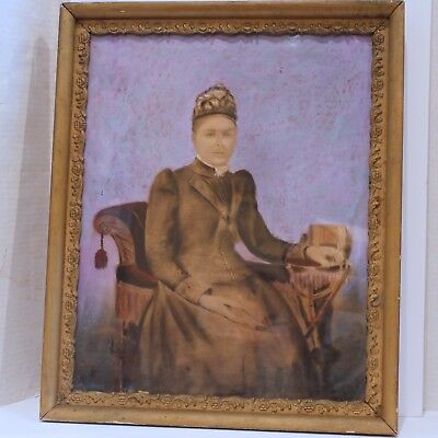 Antique Victorian Pastel Portrait, Sitting Woman, Framed, 19th century, Colorful