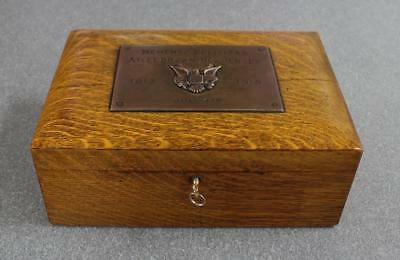 Antique WWI Tiger Oak US Army Military Humidor With Glass Covered Letter Inside