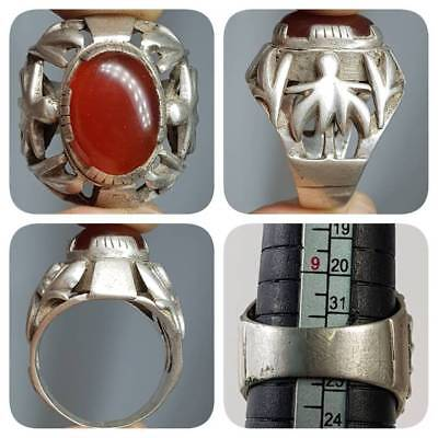 Silver Rare Old Medieval Agate stone Beautiful Stunning Ring   #k2