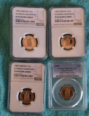 1989 500Th Proof Full Sovereign-Lot Of 4 Coins- All Grade Pf69 Ultra Cameo