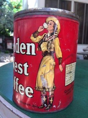 Vintage 1937 Golden West Coffee 2 Lbs. Cowgirl Tin Closset & Devers Portland OR