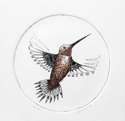 Art Vickers Original Etching Hand Signed Numbered Native Hummingbird 1991