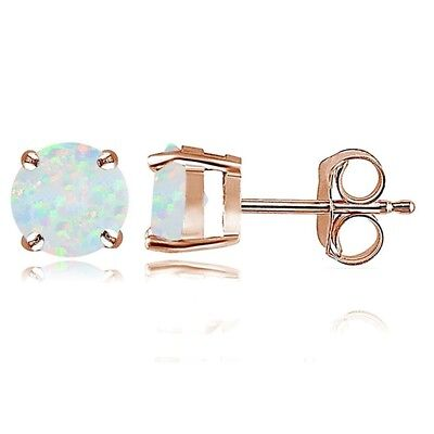 Rose Gold Opal 6mm Round Stud Earrings E7Z6