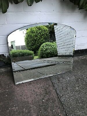 Large Frameless Mirror Vintage Art Deco Rounded Frameless Deco Mirror