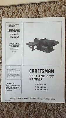 Vintage Sears Owners Manual For Craftsmen Belt and Disc 113.226421